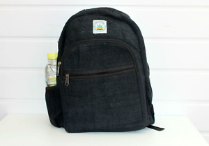 Hemp Bag Hemp backpack rucksack black laptop Handmade organic bags to school veg