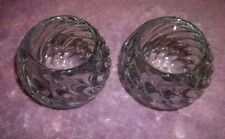 2 Party lite Votive Candle Holders Glass Swirl Ball SET
