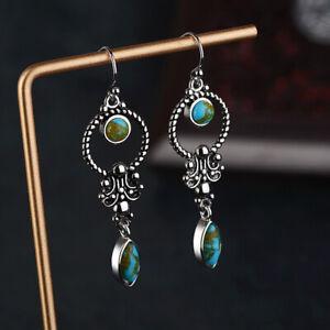 Fashion 925 Silver Turquoise Earrings Women Ear Hook Dangle Drop Gift Jewelry