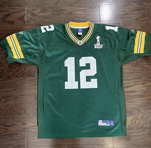 Green Bay Packers Aaron Rodgers 12 NFL Football Jersey Mens 54 Reebok Super Bowl