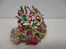 COLORFUL RHINESTONE PEACOCK STATEMENT RUNWAY MAGNETIC CLASP BRACELET ZAZA!!!