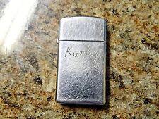 1978 Zippo Slim Lighter Engraved Kathy, Just Needs Fluid                     A19