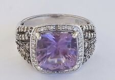 14K White Gold LeVian Amethyst & Chocolate Diamond Cocktail Ring Size 7