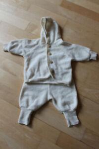 Set Bio Hess Natur Baby neugeboren Overall 100% Wolle Jacke Zweiteiler elfenbein