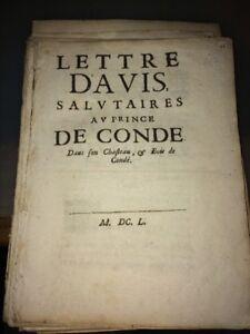 LETTRE D'AVIS SALUTAIRES AU PRINCE DE CONDÉ. 1650.