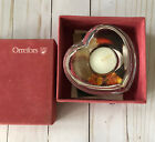 ORREFORS Sweden Crystal AMOUR Heart Shaped Tea Light Candle Holder New In Box