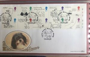1996 Greeting Stamps Cartoons Gold 500 (113) FDC Yapton Arundel SHS 22ct LE