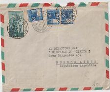 ITALIA 1950 30L DEMOCATICA X3 SU LETTERA DA MILANO  VIA AEREA PER ARGENTINA