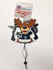 Oakland Raiders CHEERING REINDEER Christmas Tree Holiday Ornament NEW
