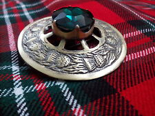 Kilt Fly Plaid Brooch Thistle Design Green Stone/Highland Kilt Antique Brooches