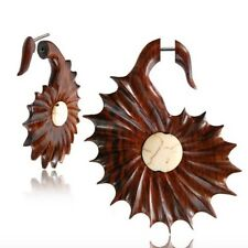"""PAIR 18G SONO WOOD FAUX FAKE CHEATER PLUGS INLAY STONE 2"""" INCH GAUGES TALONS"""
