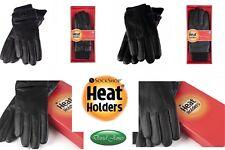 Heat Holders Heat Weaver Winter Warm Exclusive Black Leather Gloves Mens  Ladies