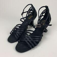 Bloch Womens Strappy Sandals Black Adjustable Med Heel Block Leather Buckle 7 B