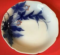 KORANSHA FUKAGAWA BLUE SAUCE BOWL VINTAGE JAPANESE LEAVES BERRIES SCALLOPED