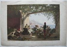 Siesta villa Ravello Amalfi Italia Orig Farblithografie 1840 Stroobant Hess