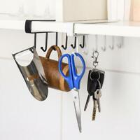 6 Hooks Cup Holder Hanging Kitchen Cabinet Door Shelf Storage Rack Home Decor