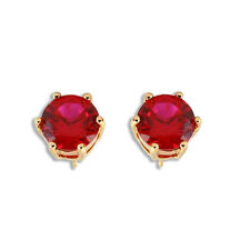 NWOT Beautiful Classic Round Ruby* 9K Yellow Gold Filled Stud Earrings