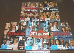 GREY'S ANATOMY SEASON 1, 2, 3, 4, 5 DVD BULK LOT REGION 4