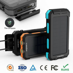500000mAh Waterproof Solar Power Bank 2USB LED Portable External Battery Charger