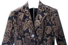 NWT LAUREN Ralph Lauren Velvet Black Gold Brocade Blazer Dress Jacket 10 $199