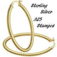 Solid Hoop Earrings Gold Yellow 14k 1 Silver Sterling 925 10k Cut Diamond Large