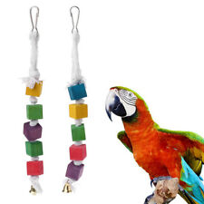 Bird Chewing Parrot Parakeet Wooden Block Attractive Wood Hanging String Toys