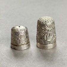 Vintage Antique Sterling Silver Thimble x 2 Chester