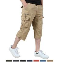 Multi-Pocket Men's Cargo Capri Shorts Tactical Hiking Cotton Shorts 3/4 Pants