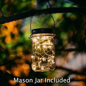 20 LED Solar Mason Jar+Lid Lights Chandelier Fairy String Light Kit Garden Decor