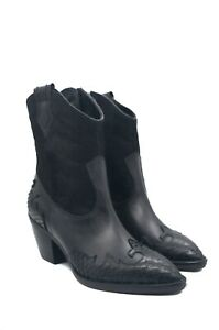 Cowboy UK Designed Boots Black Leather with Calf Hair