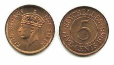 Six (6) Seychelles 5 Cent Coins 1948,Uncirculated KM 7