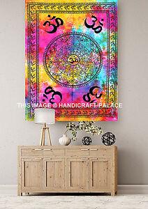 Indian Wall Hanging Hippie Tie DyeTapestry Bohemian Om Aum Ethnic Dorm Decor Art
