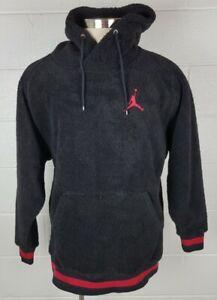 Mens Nike Air Jordan Black Fuzzy Fleece Sherpa Hoodie Jacket AH7907-011 L