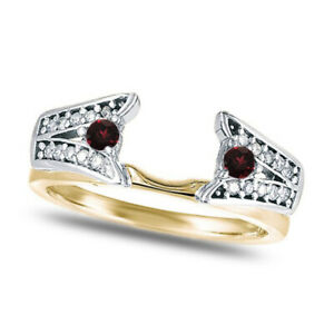 0.29 Ct Red Ruby & Diamond Enhancer Ring Guard Sterling Silver