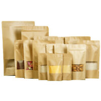 Brown Strong Grip Seal Gusset Craft Paper Bags Smell Free with Clear Window