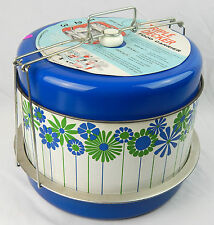 Vintage  J.L. Clark Blue Flowers Metal Triple Decker Food Carrier Pie Cake