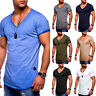 Fashion Men Slim Fit V-Neck T-Shirt Male Cotton Short Sleeves Casual Tops Summer