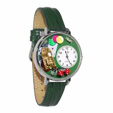 Whimsical Watches Unisex U0430005 Casino Hunter Green Leather Watch