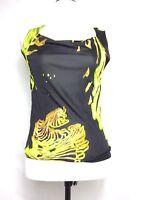 Christian Lacroix paris womens blouse size Medium sleeveless cowl black yellow