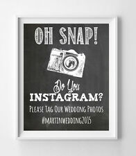 DO YOU INSTAGRAM Personalized WEDDING Printed Decor Chalkboard Look 8x10 PRINT