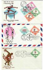 Set Three 1960 Vintage Fdc Philippines Rome Olympics Air Mail #821/22 + #C85/86