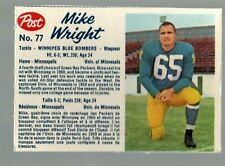 1962 Post Cereal CFL #77 Mike Wright