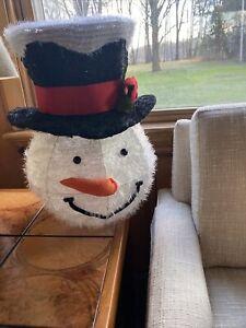 "Snowman Christmas Tree Topper Top Hat Large 16"" Holiday Decor Cracker Barrel"