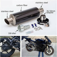 51mm Inlet Glossy Real Carbon Fiber Slip-On Exhaust Muffler Pipe with DB Killer
