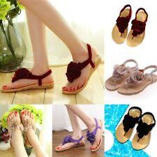 Women Fashion Summer Bohemian Floral Slipper Flip Flops Flat Sandals Thong Shoes
