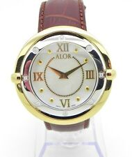 ALOR 1979 DBY-71-3-85-2004 Diamond Watch Yellow Gold Plate 43mm Brown Leather