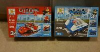 City Play Blocks 3 In 1 Fire Engine & Police Car 30 pieces each Xmas Gift