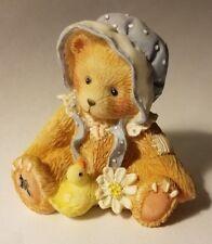 """Teddy Bear Figurine 1993 Priscilla Hillman appx 1.5"""" T x 1.5"""" W x 1"""" L #d duck"""