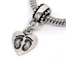 Footprint Heart New Baby Shower Gift Pregnant Dangle Charm for European Bracelet