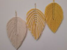 Macrame feathers leaves wall hanging home decor gift, yellow&cream, 27×15 cm.